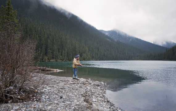 Fishing on the lake at Panther River
